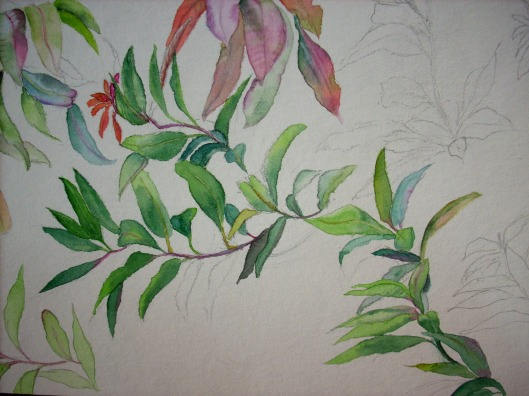 green leaves , details