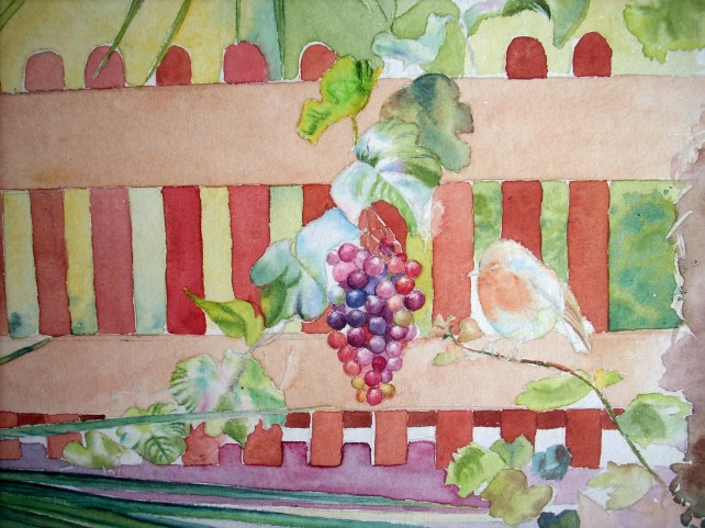 second layers for grape vine and robin