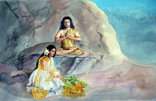 Parvathi offering flowers to Lord Shiva
