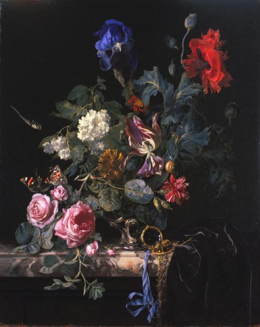 Willem van Aelst; Flowers in a Silver Vase (1663)