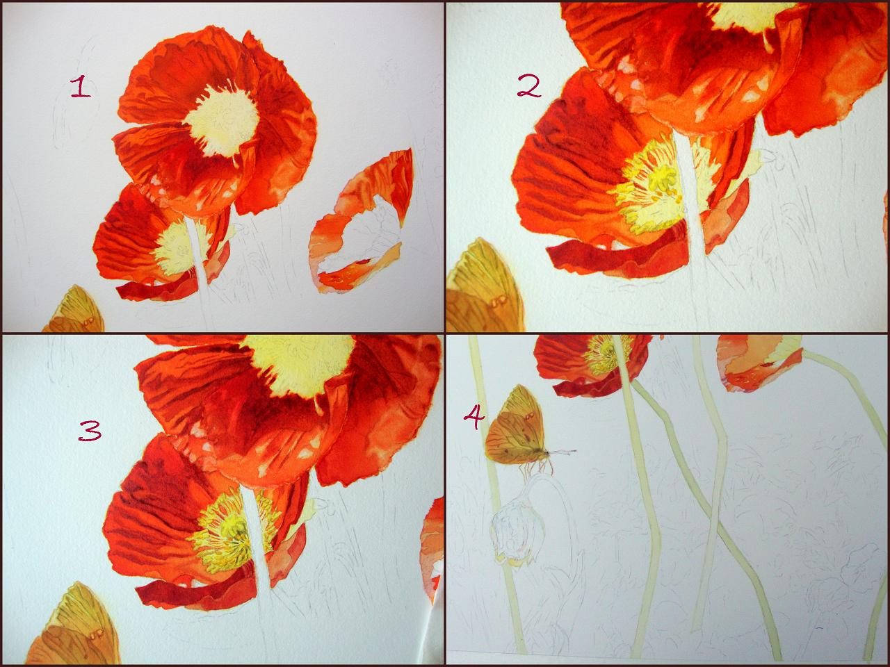 Painting The Centers Of The Flowers And The Garden Light