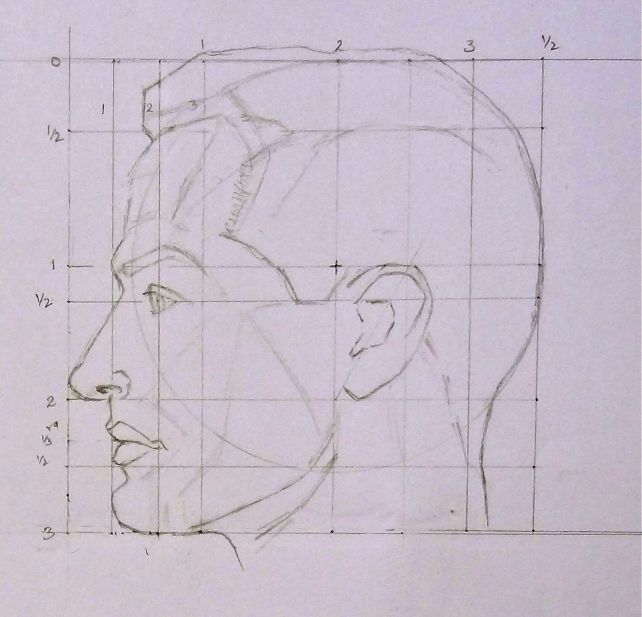 Ideal male head - Side view