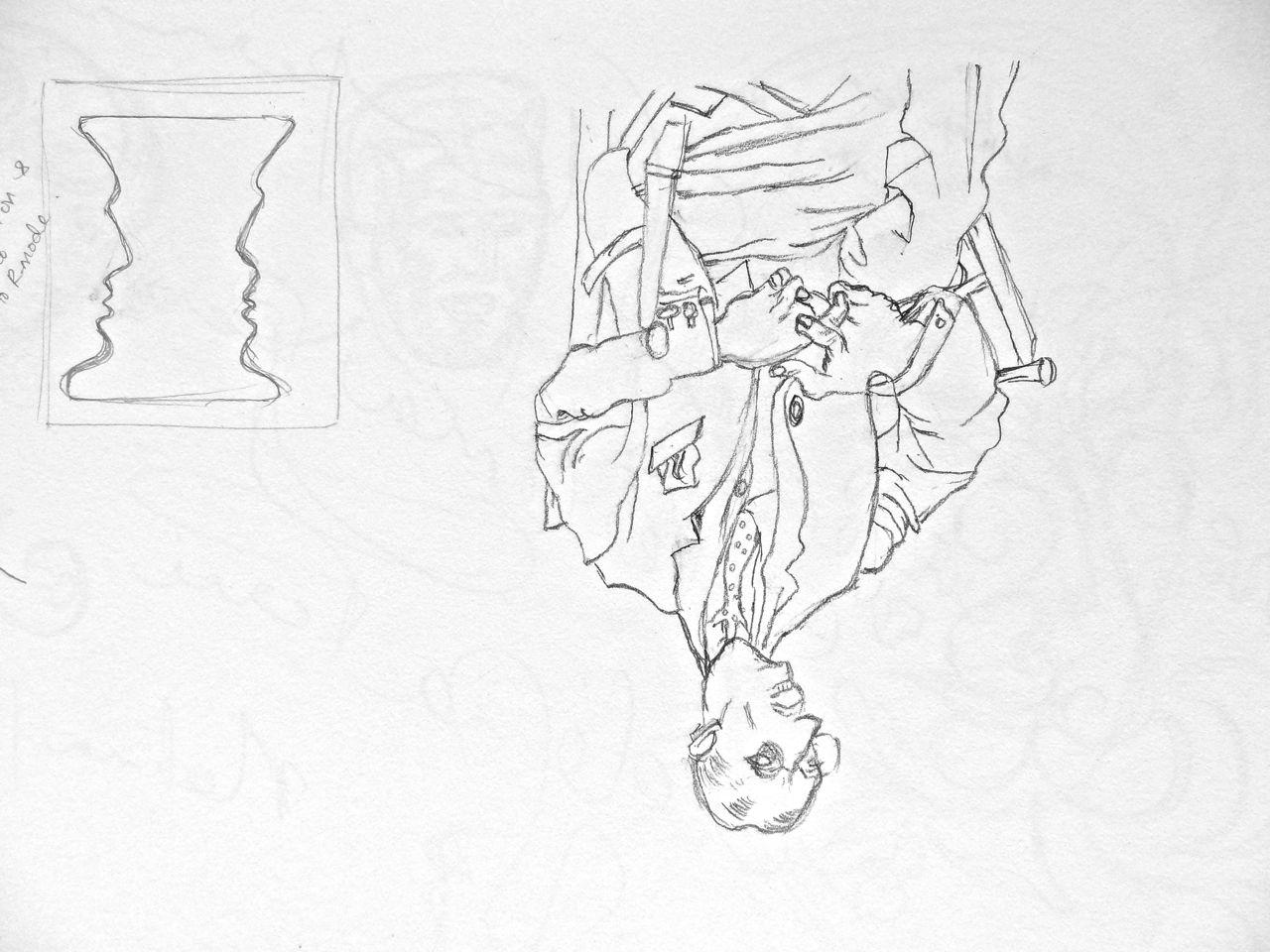 Upside Down Contour Line Drawing : Portrait man drawing