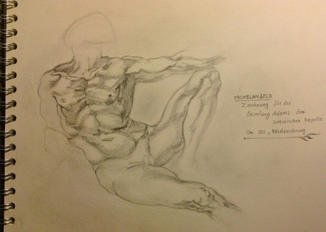Old Masters Study – Michelangelo, Creation of Adamdrawing
