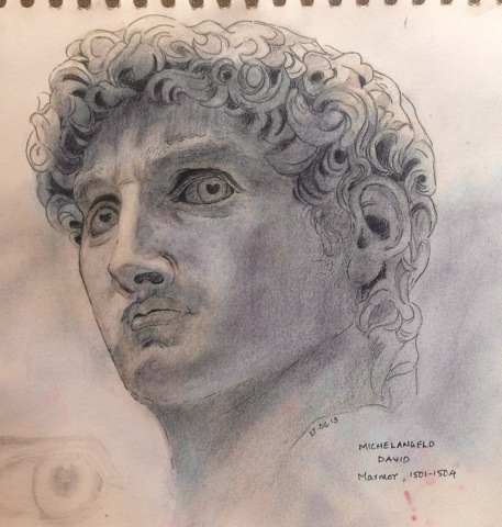 Head study of Michelangelo's David