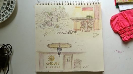Sketchbook page - Muscat airport and inflight