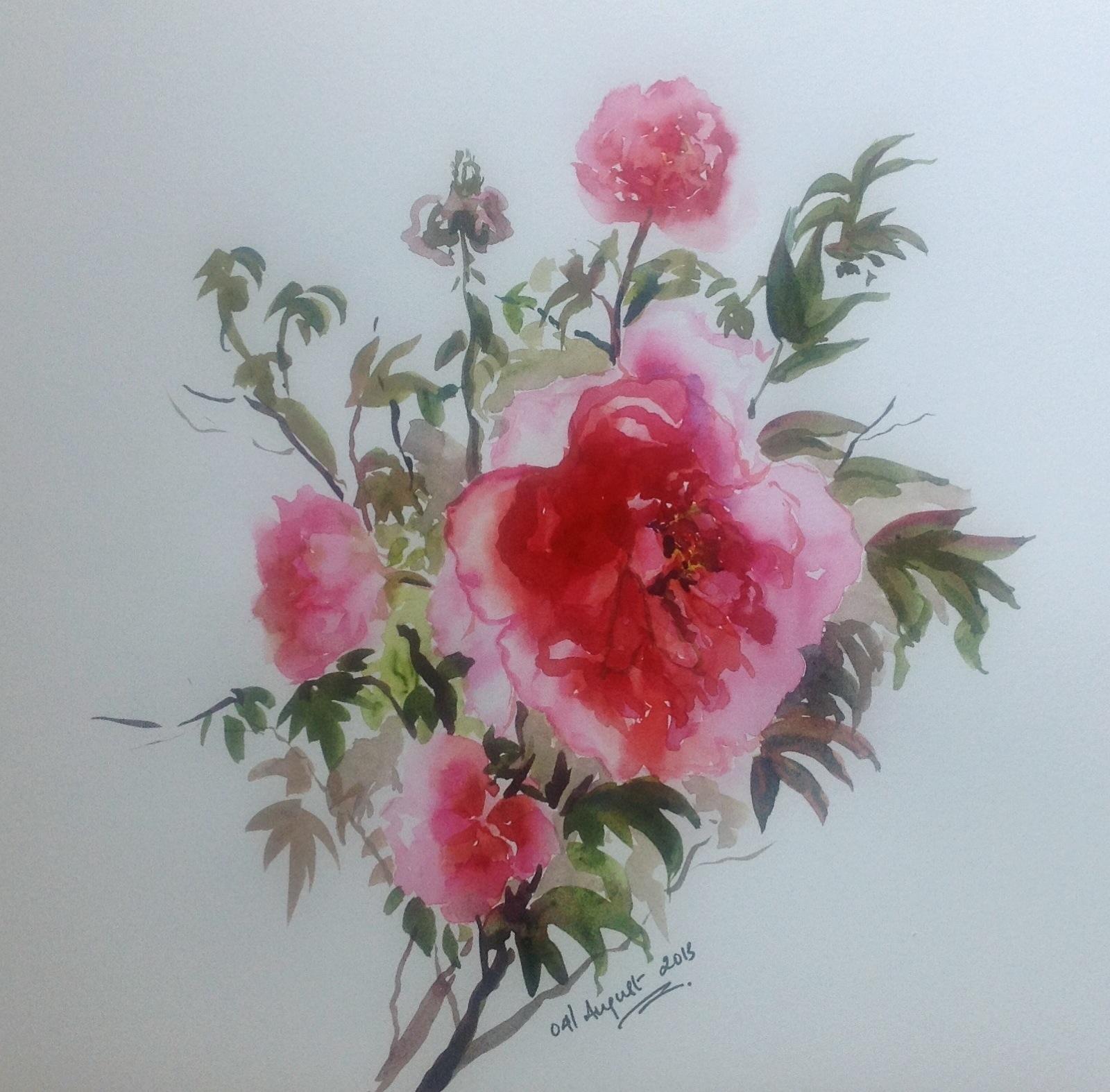 Pink peonies waercolorsketch