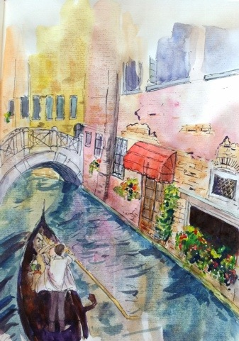 Sketch of a Venetian canal
