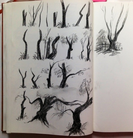 Imaginary tree trunks done with flat point charcoal