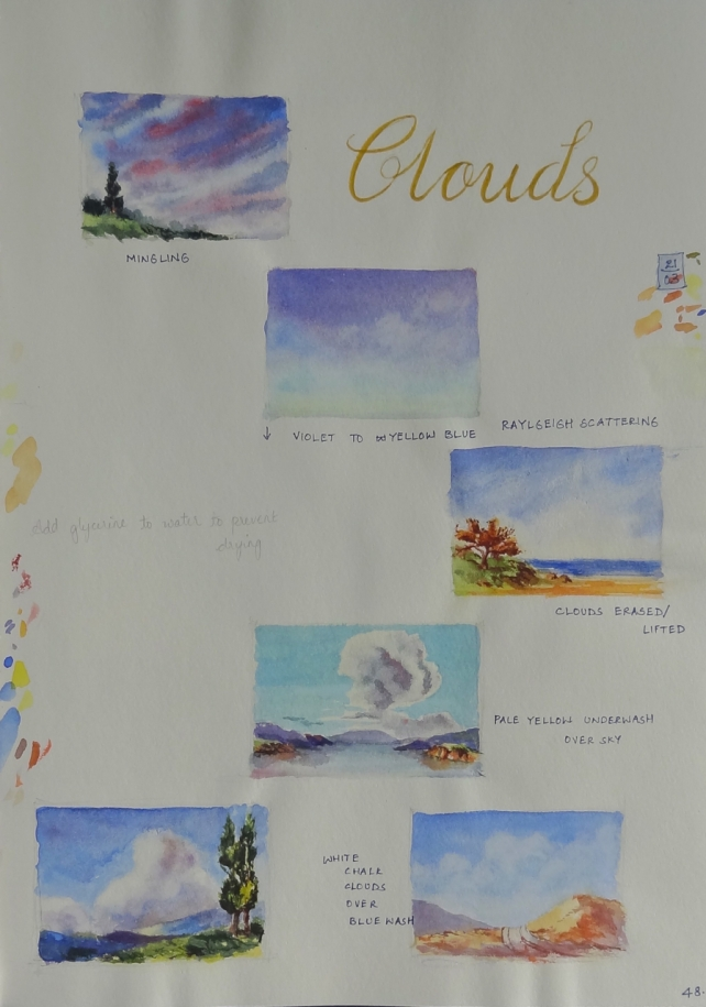 clouds sketchbook page