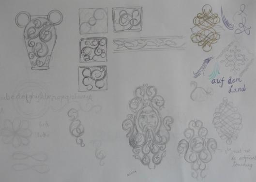 decorative design sketchbook page