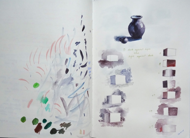 sketchbook page - Guptill on value contrasts
