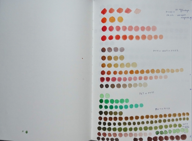 sketchbook page - color mixing swatches