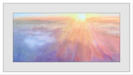 sunset in the clouds watercolor painting