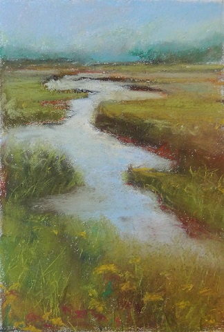 marshy field in pastel