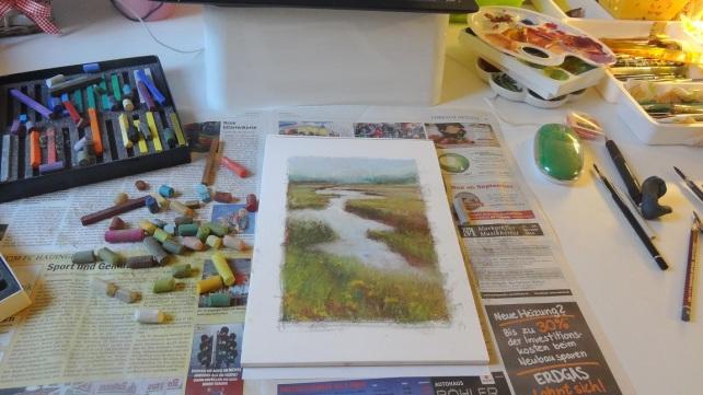 marshy field in pastel