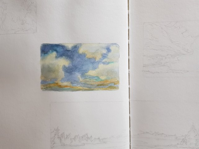 Clouds skyscape in watercolor