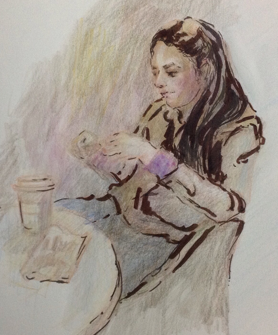 Young woman drinking coffee sketch