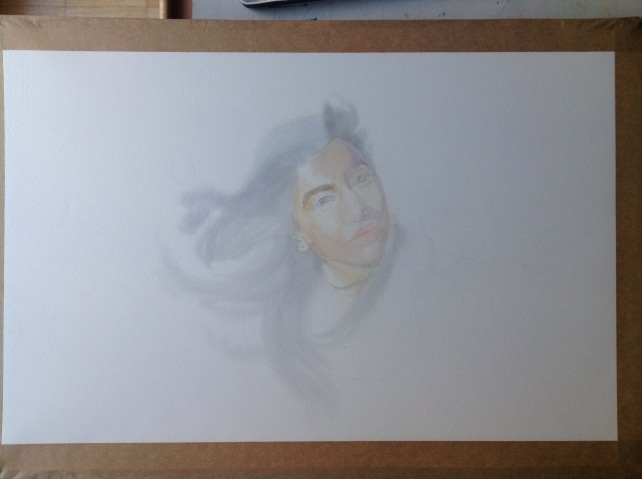 Portrait in watercolor - WIP