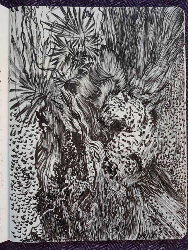 sketchbook page - leopard - jungle